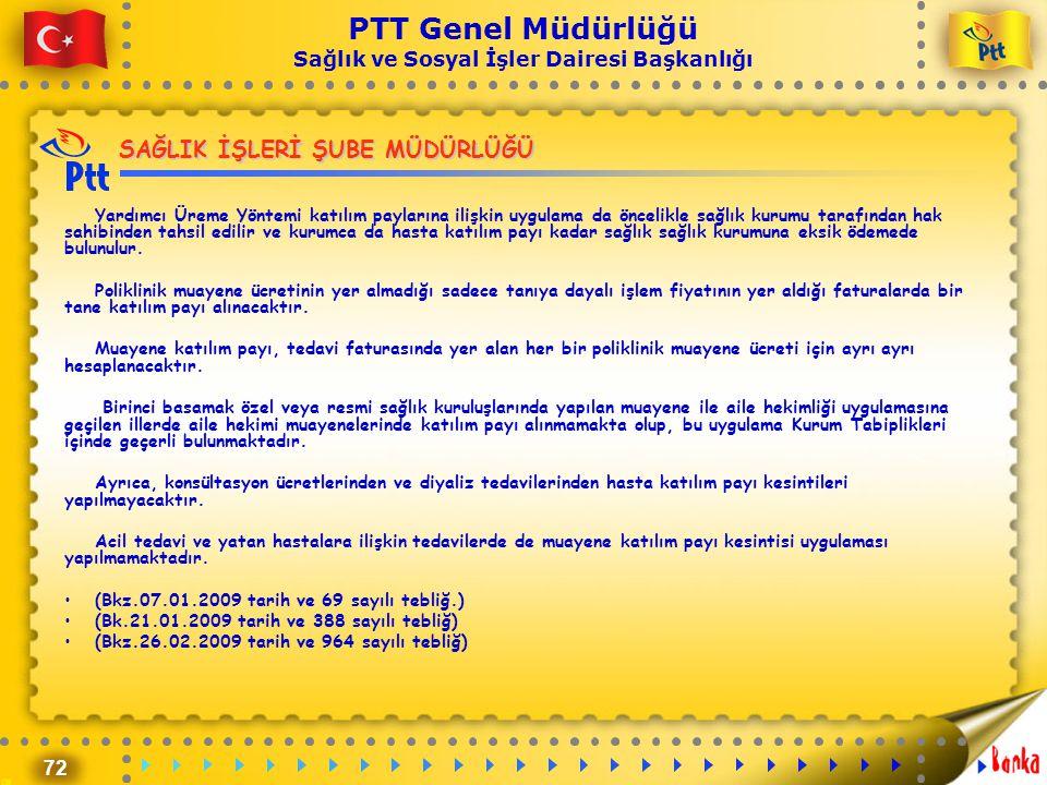 72 PTT Genel Müdürlüğü Sağlık ve Sosyal İşler Dairesi Başkanlığı SAĞLIK İŞLERİ ŞUBE MÜDÜRLÜĞÜ Yardımcı Üreme Yöntemi katılım paylarına ilişkin uygulam