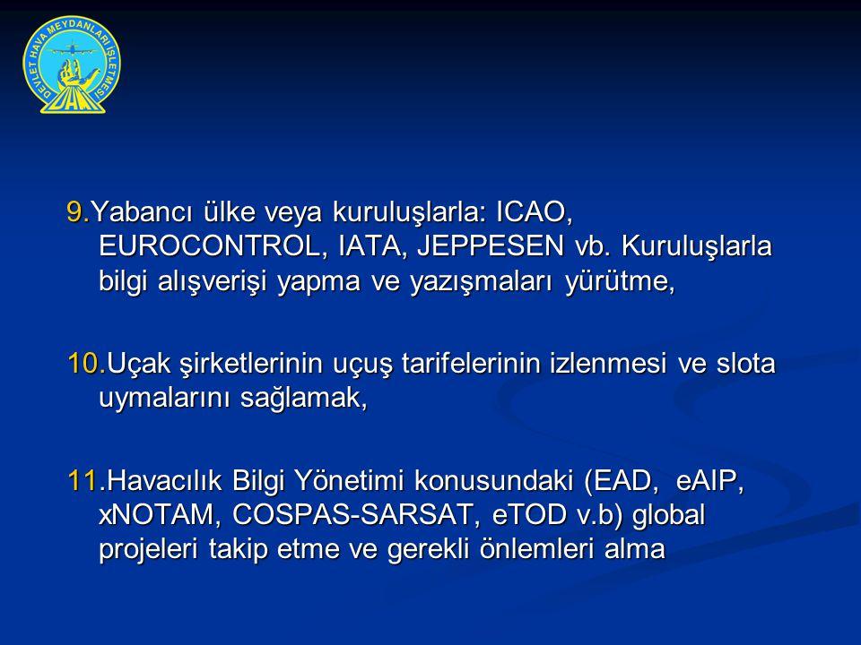 9.Yabancı ülke veya kuruluşlarla: ICAO, EUROCONTROL, IATA, JEPPESEN vb. Kuruluşlarla bilgi alışverişi yapma ve yazışmaları yürütme, 10.Uçak şirketleri