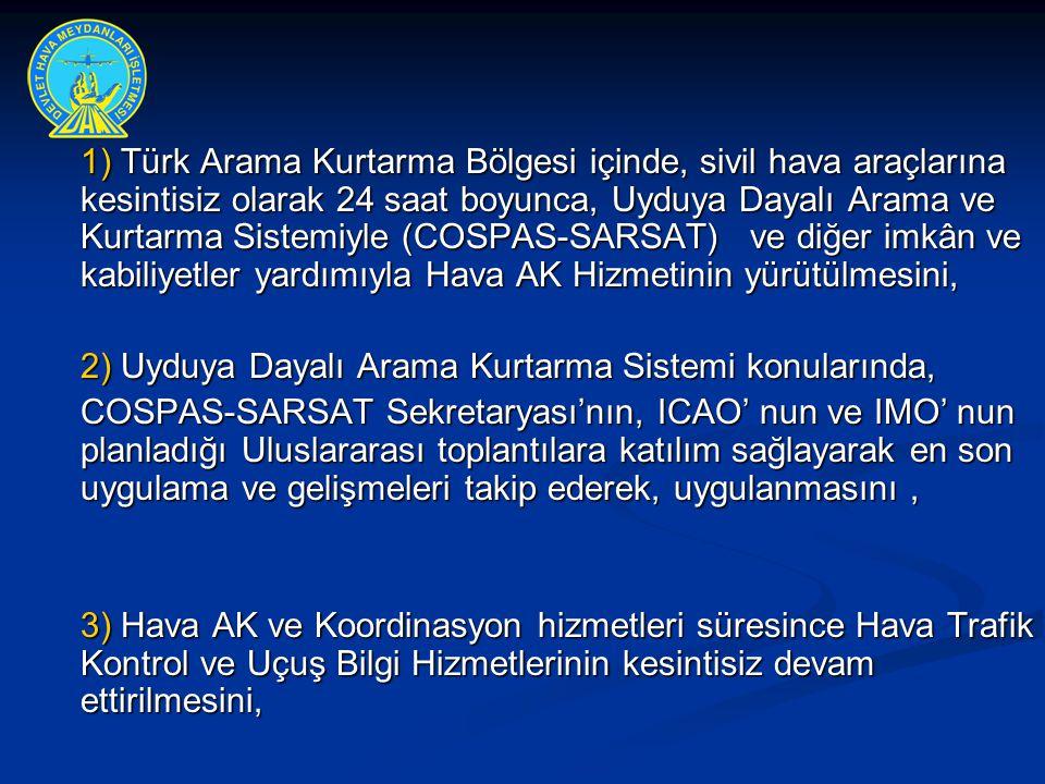 1) Türk Arama Kurtarma Bölgesi içinde, sivil hava araçlarına kesintisiz olarak 24 saat boyunca, Uyduya Dayalı Arama ve Kurtarma Sistemiyle (COSPAS-SAR