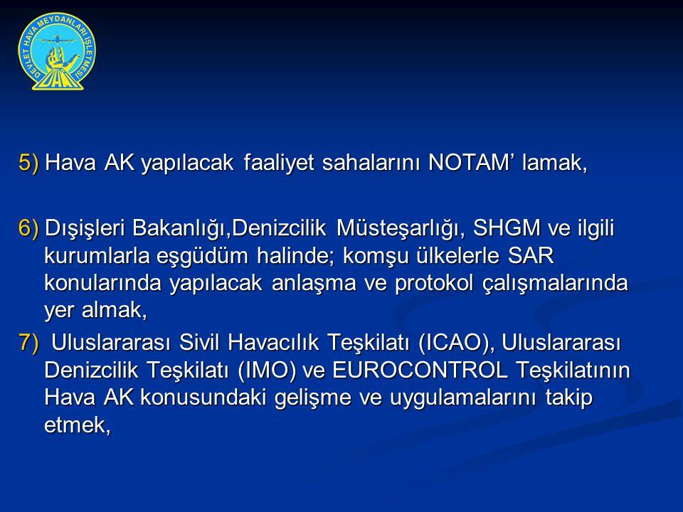 5) Hava AK yapılacak faaliyet sahalarını NOTAM' lamak, 6) Dışişleri Bakanlığı,Denizcilik Müsteşarlığı, SHGM ve ilgili kurumlarla eşgüdüm halinde; komş
