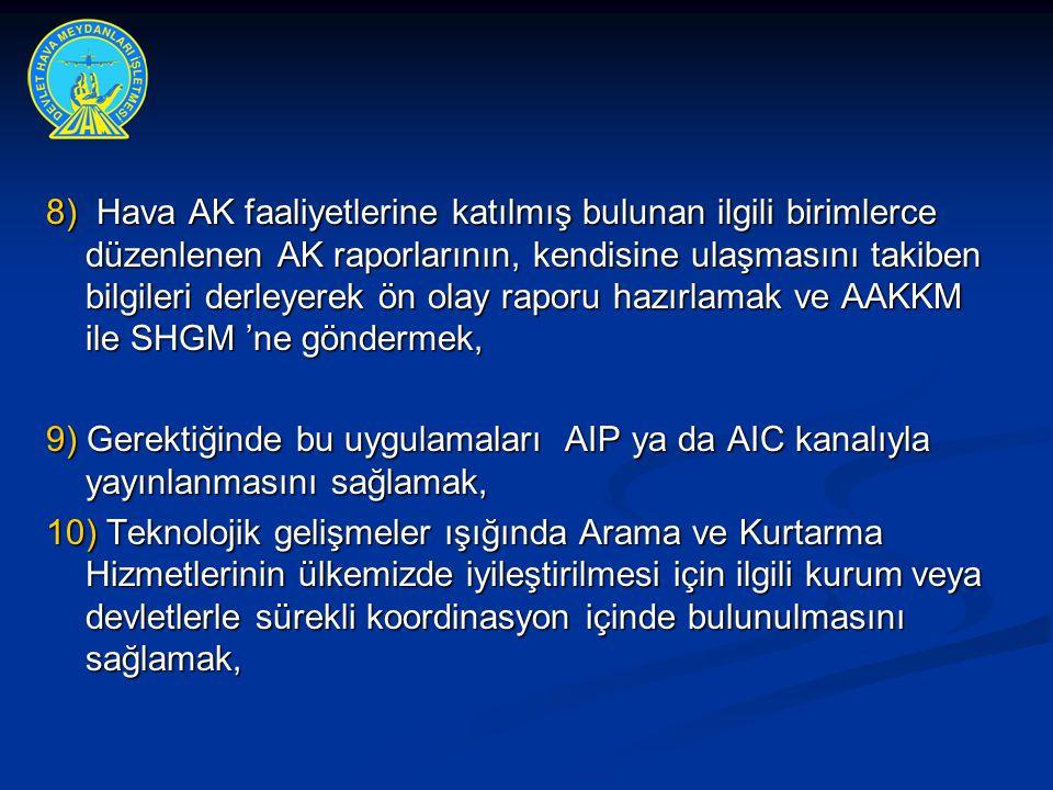 8) Hava AK faaliyetlerine katılmış bulunan ilgili birimlerce düzenlenen AK raporlarının, kendisine ulaşmasını takiben bilgileri derleyerek ön olay rap