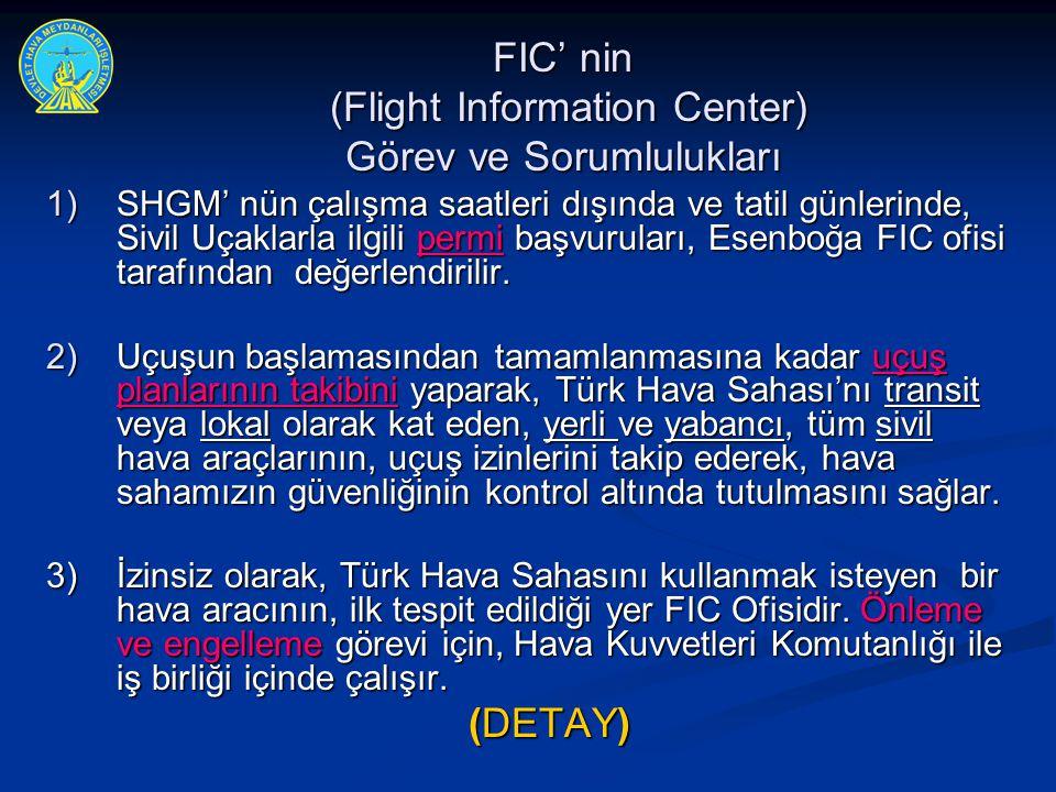 FIC' nin (Flight Information Center) Görev ve Sorumlulukları 1) SHGM' nün çalışma saatleri dışında ve tatil günlerinde, Sivil Uçaklarla ilgili permi b