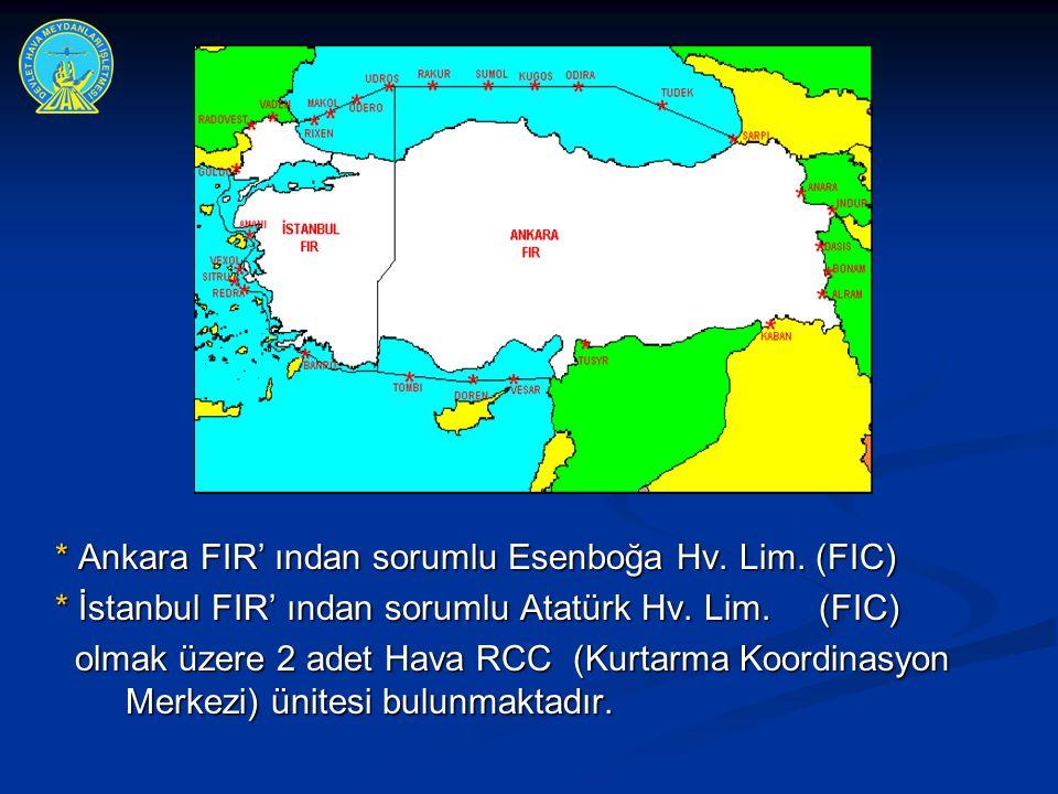 * Ankara FIR' ından sorumlu Esenboğa Hv. Lim. (FIC) * İstanbul FIR' ından sorumlu Atatürk Hv. Lim. (FIC) olmak üzere 2 adet Hava RCC (Kurtarma Koordin