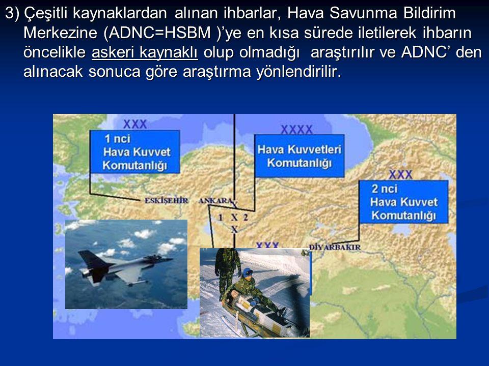 3) Çeşitli kaynaklardan alınan ihbarlar, Hava Savunma Bildirim Merkezine (ADNC=HSBM )'ye en kısa sürede iletilerek ihbarın öncelikle askeri kaynaklı o