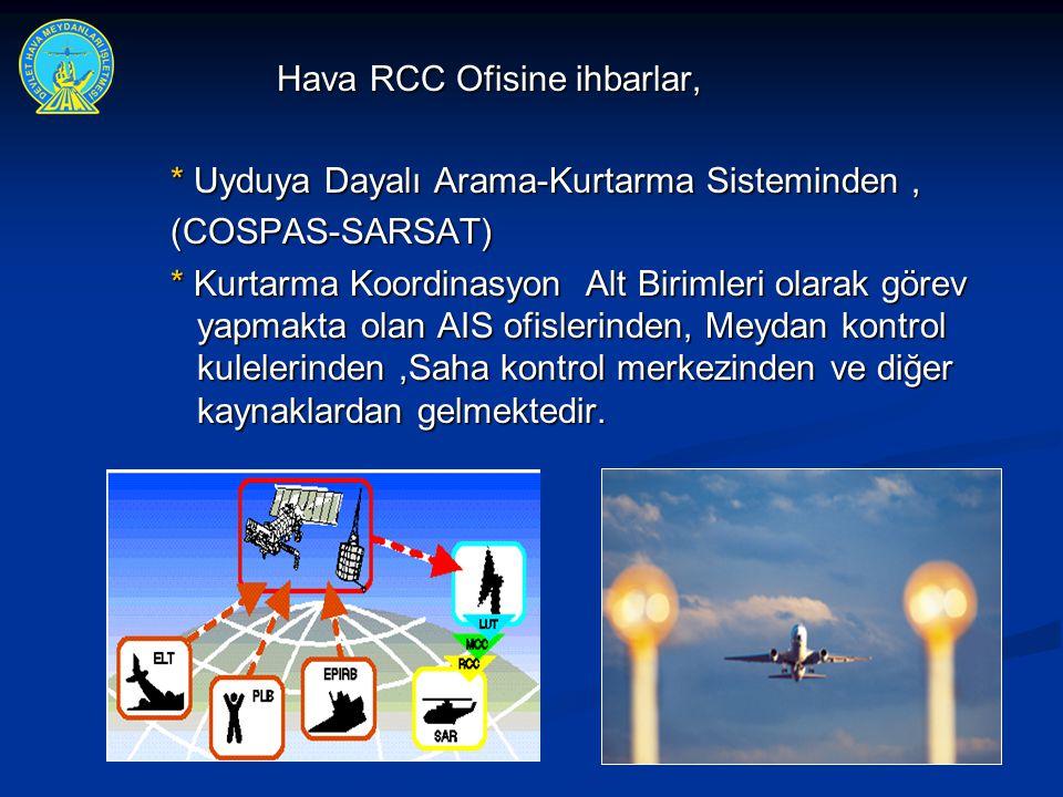 Hava RCC Ofisine ihbarlar, * Uyduya Dayalı Arama-Kurtarma Sisteminden, * Uyduya Dayalı Arama-Kurtarma Sisteminden,(COSPAS-SARSAT) * Kurtarma Koordinas
