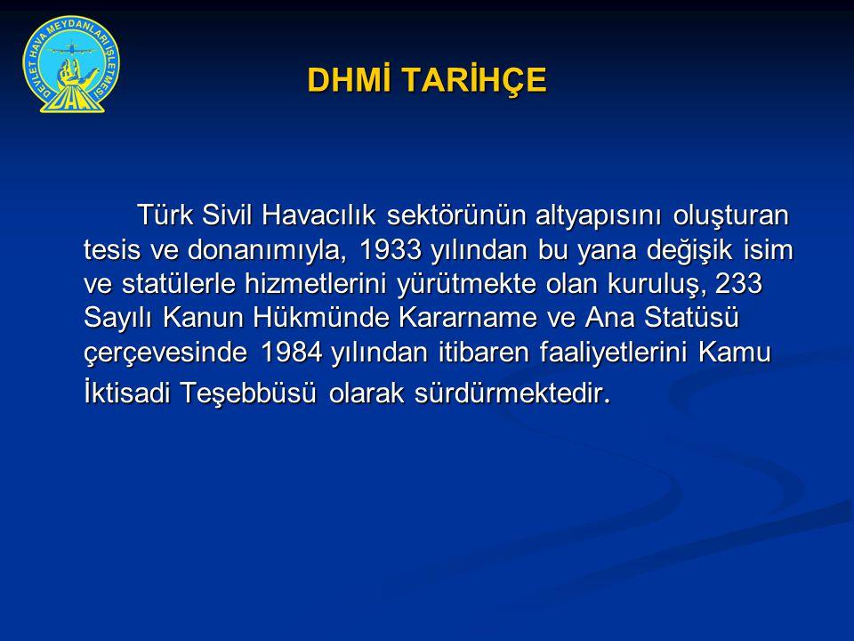 DHMİ TARİHÇE Türk Sivil Havacılık sektörünün altyapısını oluşturan tesis ve donanımıyla, 1933 yılından bu yana değişik isim ve statülerle hizmetlerini