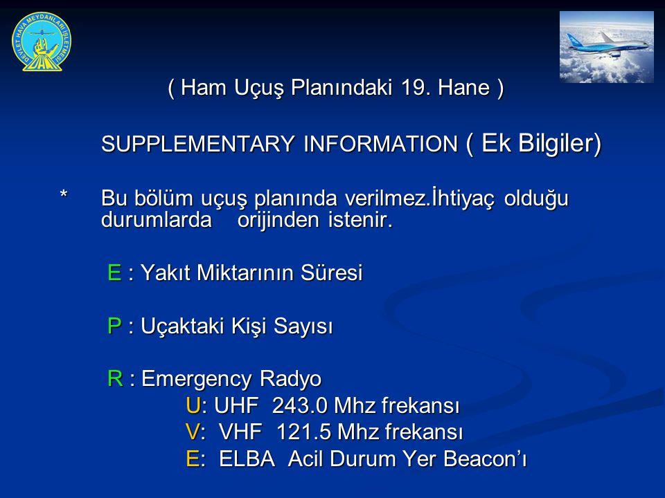 ( Ham Uçuş Planındaki 19. Hane ) SUPPLEMENTARY INFORMATION ( Ek Bilgiler) * Bu bölüm uçuş planında verilmez.İhtiyaç olduğu durumlarda orijinden isteni