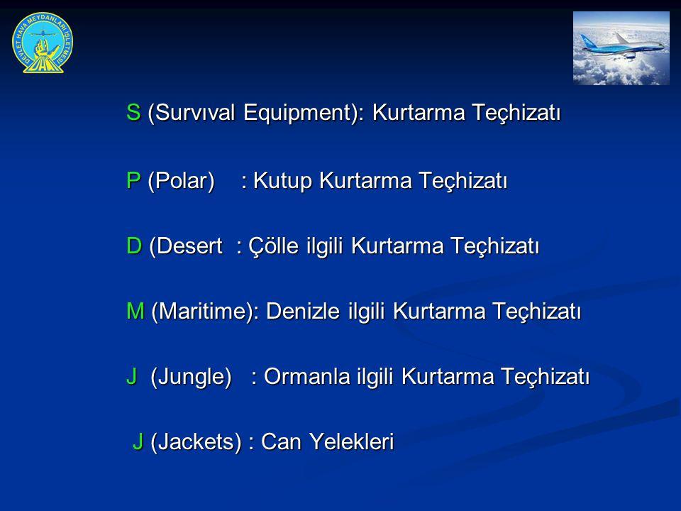 S (Survıval Equipment): Kurtarma Teçhizatı P (Polar) : Kutup Kurtarma Teçhizatı P (Polar) : Kutup Kurtarma Teçhizatı D (Desert : Çölle ilgili Kurtarma