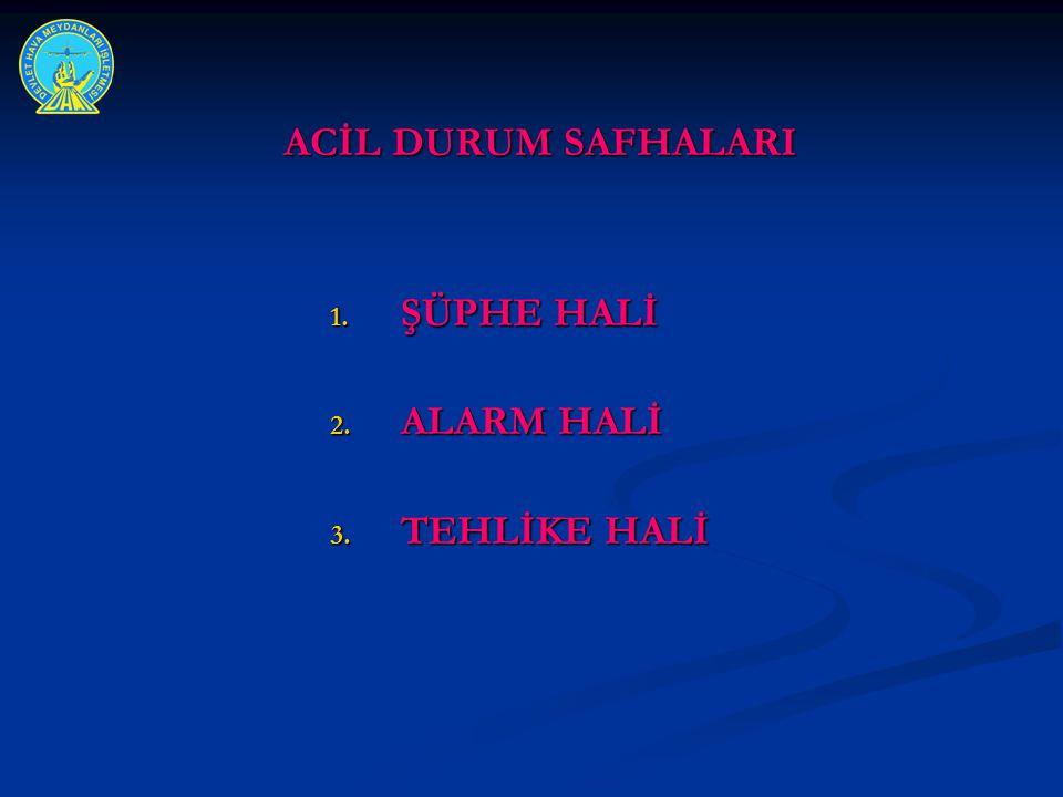ACİL DURUM SAFHALARI ACİL DURUM SAFHALARI 1. ŞÜPHE HALİ 2. ALARM HALİ 3. TEHLİKE HALİ