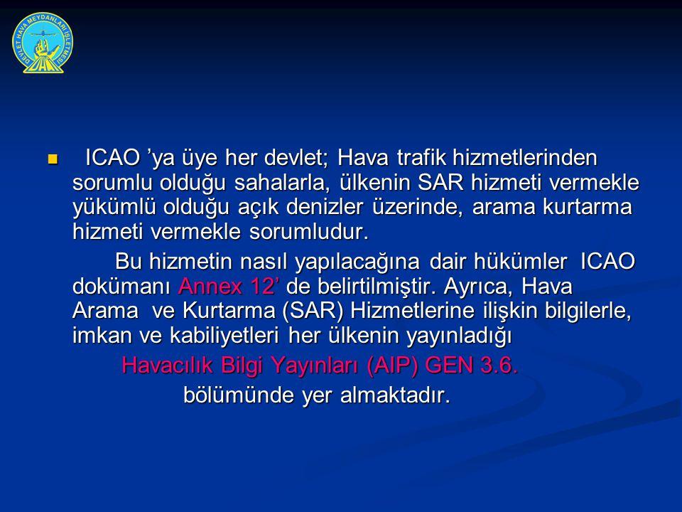  ICAO 'ya üye her devlet; Hava trafik hizmetlerinden sorumlu olduğu sahalarla, ülkenin SAR hizmeti vermekle yükümlü olduğu açık denizler üzerinde, ar
