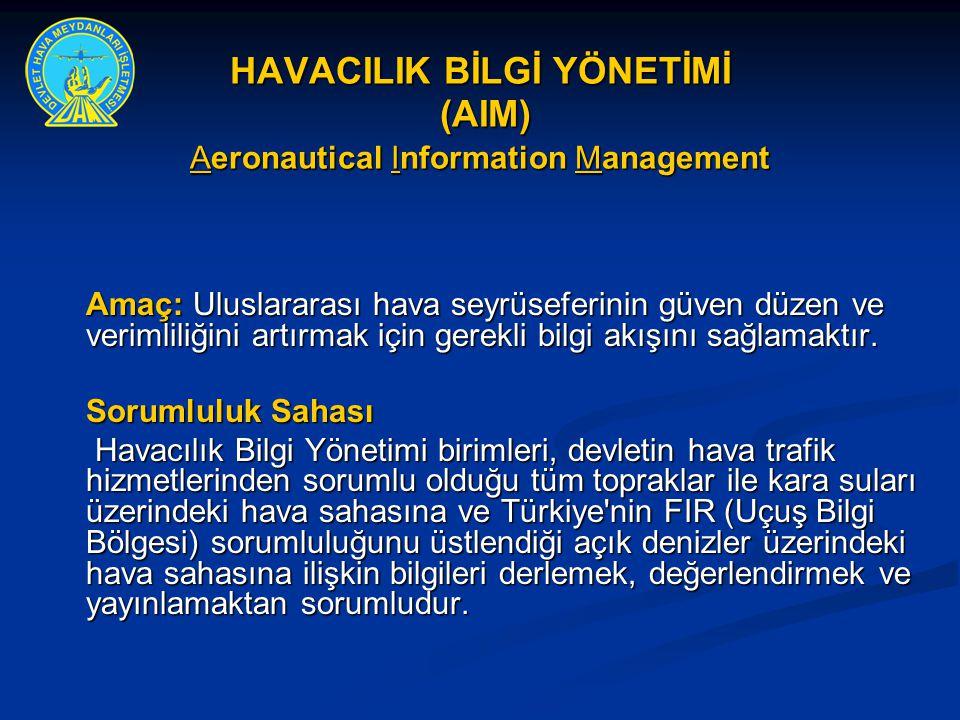 HAVACILIK BİLGİ YÖNETİMİ (AIM) Aeronautical Information Management Amaç: Uluslararası hava seyrüseferinin güven düzen ve verimliliğini artırmak için g