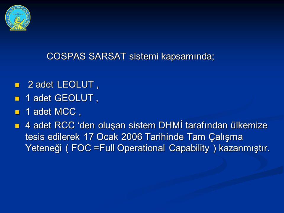 COSPAS SARSAT sistemi kapsamında; COSPAS SARSAT sistemi kapsamında;  2 adet LEOLUT,  1 adet GEOLUT,  1 adet MCC,  4 adet RCC 'den oluşan sistem DH