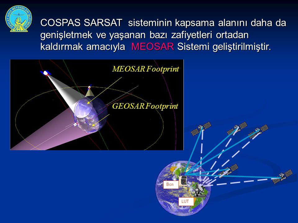 MEOSAR Footprint GEOSAR Footprint Bcn LUT COSPAS SARSAT sisteminin kapsama alanını daha da genişletmek ve yaşanan bazı zafiyetleri ortadan kaldırmak a