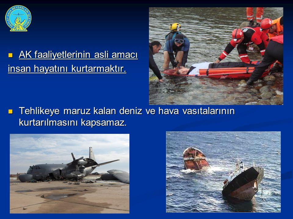  AK faaliyetlerinin asli amacı insan hayatını kurtarmaktır.  Tehlikeye maruz kalan deniz ve hava vasıtalarının kurtarılmasını kapsamaz.