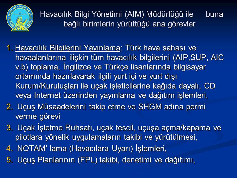 1. Havacılık Bilgilerini Yayınlama: Türk hava sahası ve havaalanlarına ilişkin tüm havacılık bilgilerini (AIP,SUP, AIC v.b) toplama, İngilizce ve Türk