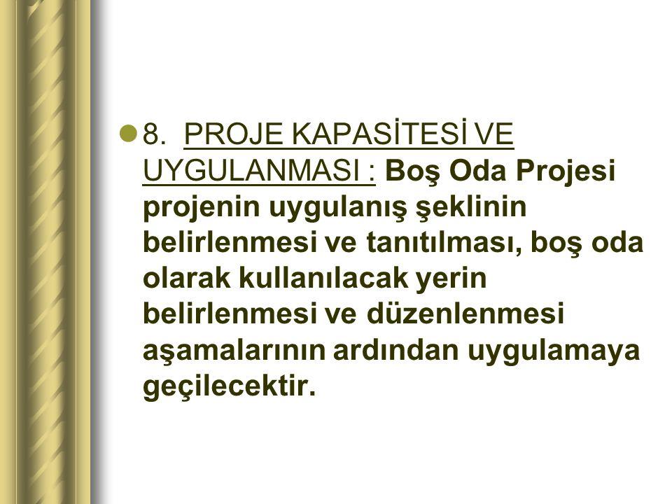 8. PROJE KAPASİTESİ VE UYGULANMASI : Boş Oda Projesi projenin uygulanış şeklinin belirlenmesi ve tanıtılması, boş oda olarak kullanılacak yerin beli
