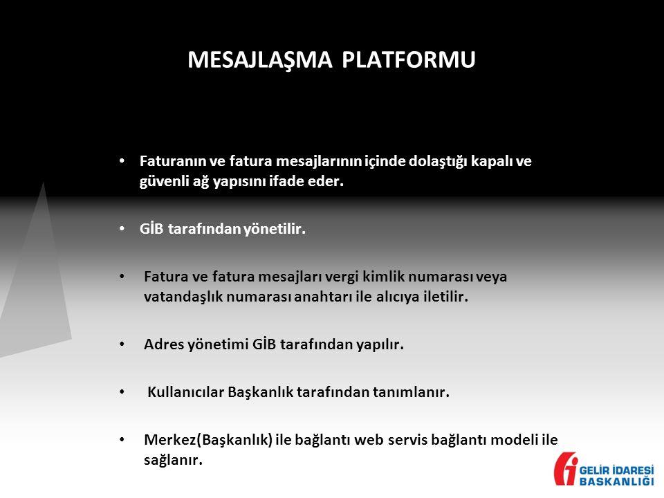 MESAJLAŞMA PLATFORMU • Faturanın ve fatura mesajlarının içinde dolaştığı kapalı ve güvenli ağ yapısını ifade eder.