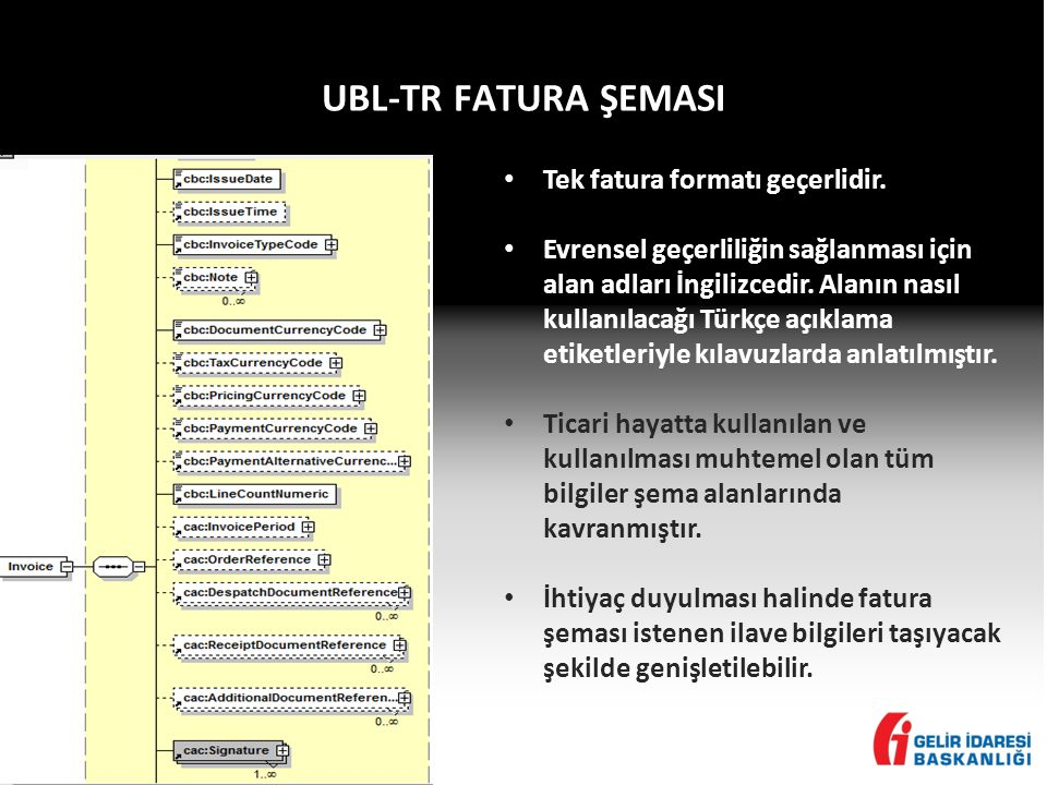 UBL-TR FATURA ŞEMASI • Tek fatura formatı geçerlidir.