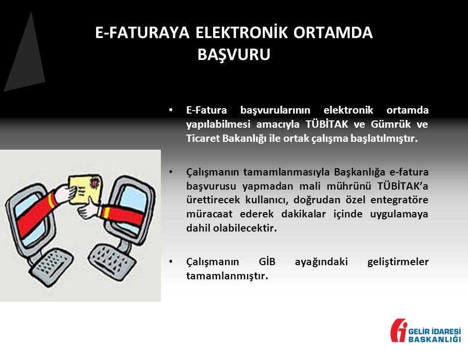 E-FATURAYA ELEKTRONİK ORTAMDA BAŞVURU • E-Fatura başvurularının elektronik ortamda yapılabilmesi amacıyla TÜBİTAK ve Gümrük ve Ticaret Bakanlığı ile ortak çalışma başlatılmıştır.