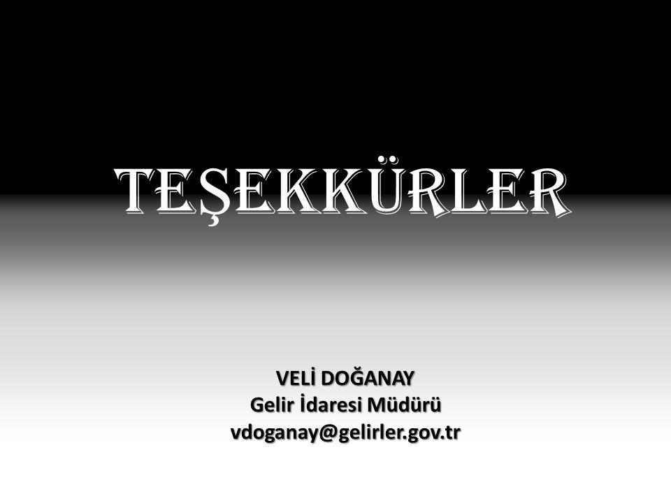Te Ş ekkürler VELİ DOĞANAY Gelir İdaresi Müdürü vdoganay@gelirler.gov.tr