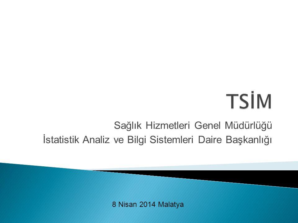 Sağlık Hizmetleri Genel Müdürlüğü İstatistik Analiz ve Bilgi Sistemleri Daire Başkanlığı 8 Nisan 2014 Malatya