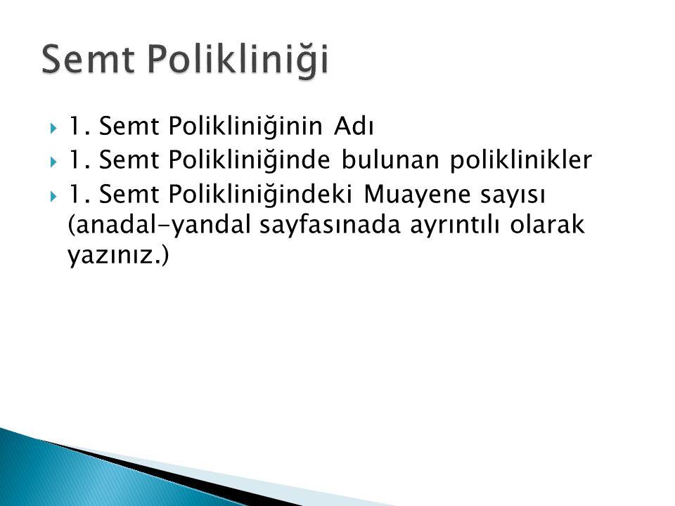  1.Semt Polikliniğinin Adı  1. Semt Polikliniğinde bulunan poliklinikler  1.