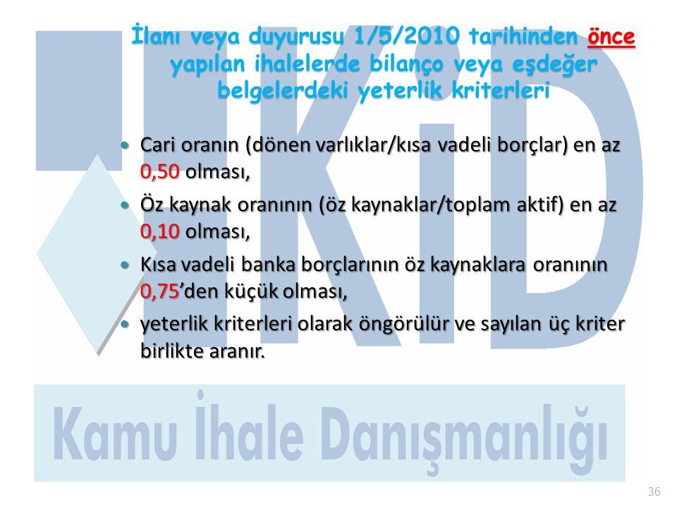 İlanı veya duyurusu 1/5/2010 tarihinden önce yapılan ihalelerde bilanço veya eşdeğer belgelerdeki yeterlik kriterleri  Cari oranın (dönen varlıklar/k