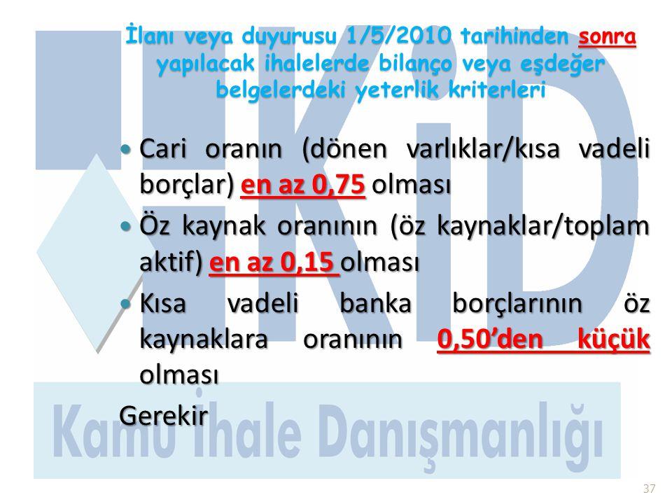 İlanı veya duyurusu 1/5/2010 tarihinden sonra yapılacak ihalelerde bilanço veya eşdeğer belgelerdeki yeterlik kriterleri  Cari oranın (dönen varlıkla