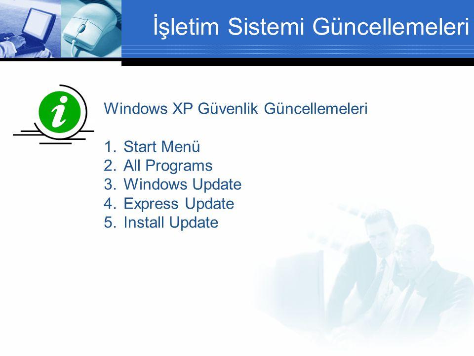 İşletim Sistemi Güncellemeleri Windows XP Güvenlik Güncellemeleri 1.Start Menü 2.All Programs 3.Windows Update 4.Express Update 5.Install Update Şifreler