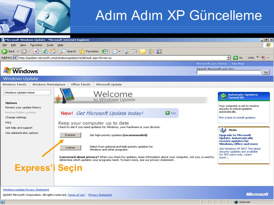 Adım Adım XP Güncelleme Express'i Seçin