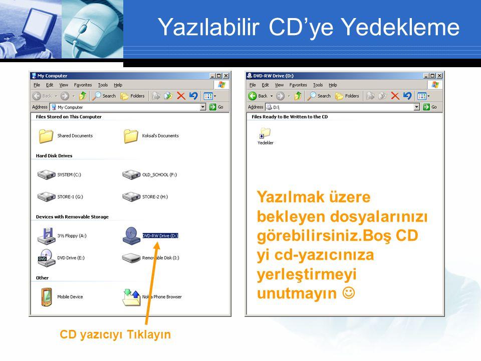 Yazılabilir CD'ye Yedekleme CD yazıcıyı Tıklayın Yazılmak üzere bekleyen dosyalarınızı görebilirsiniz.Boş CD yi cd-yazıcınıza yerleştirmeyi unutmayın 