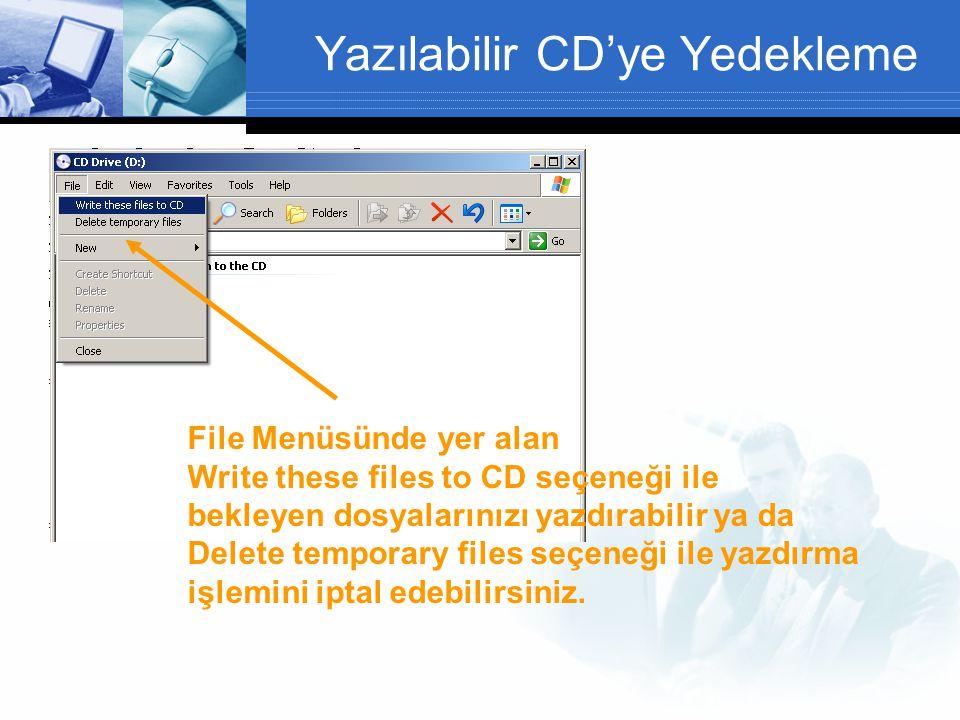 Yazılabilir CD'ye Yedekleme File Menüsünde yer alan Write these files to CD seçeneği ile bekleyen dosyalarınızı yazdırabilir ya da Delete temporary files seçeneği ile yazdırma işlemini iptal edebilirsiniz.