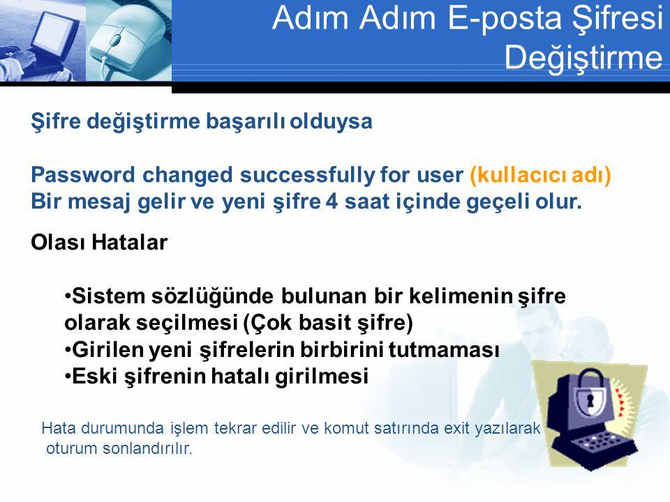 Adım Adım E-posta Şifresi Değiştirme Şifre değiştirme başarılı olduysa Password changed successfully for user (kullacıcı adı) Bir mesaj gelir ve yeni şifre 4 saat içinde geçeli olur.