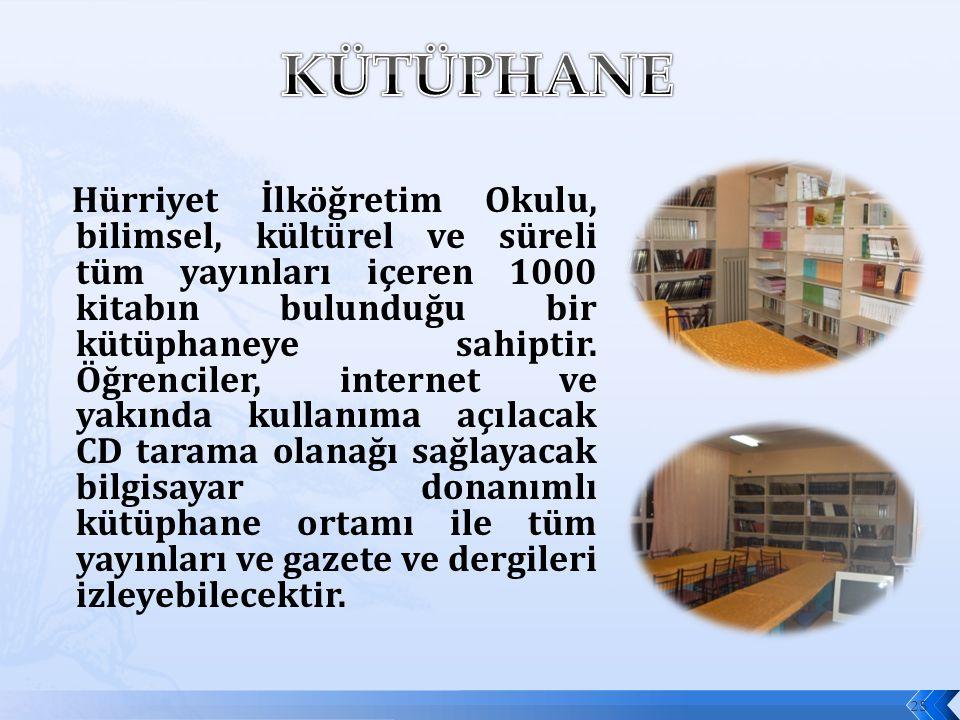 25 Hürriyet İlköğretim Okulu, bilimsel, kültürel ve süreli tüm yayınları içeren 1000 kitabın bulunduğu bir kütüphaneye sahiptir. Öğrenciler, internet