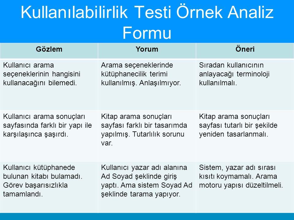 Kullanılabilirlik Testi Örnek Analiz Formu GözlemYorumÖneri Kullanıcı arama seçeneklerinin hangisini kullanacağını bilemedi. Arama seçeneklerinde kütü