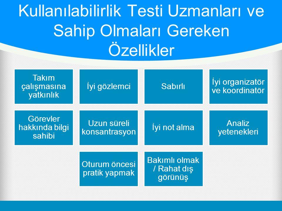Kullanılabilirlik Testi Uzmanları ve Sahip Olmaları Gereken Özellikler Takım çalışmasına yatkınlık İyi gözlemciSabırlı İyi organizatör ve koordinatör