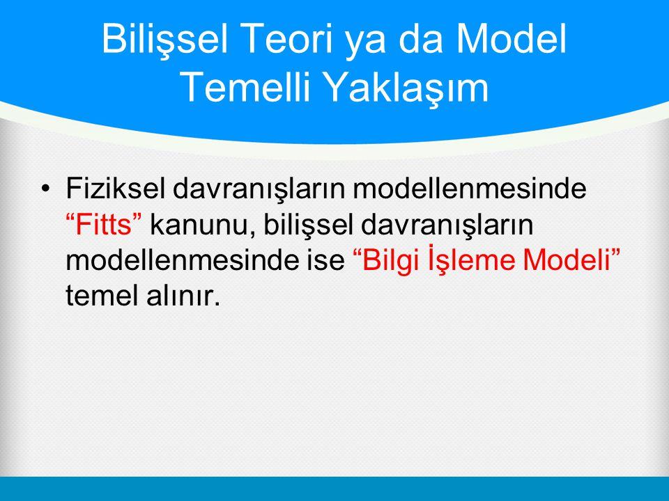 """•Fiziksel davranışların modellenmesinde """"Fitts"""" kanunu, bilişsel davranışların modellenmesinde ise """"Bilgi İşleme Modeli"""" temel alınır. Bilişsel Teori"""