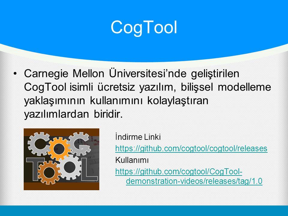 CogTool •Carnegie Mellon Üniversitesi'nde geliştirilen CogTool isimli ücretsiz yazılım, bilişsel modelleme yaklaşımının kullanımını kolaylaştıran yazılımlardan biridir.