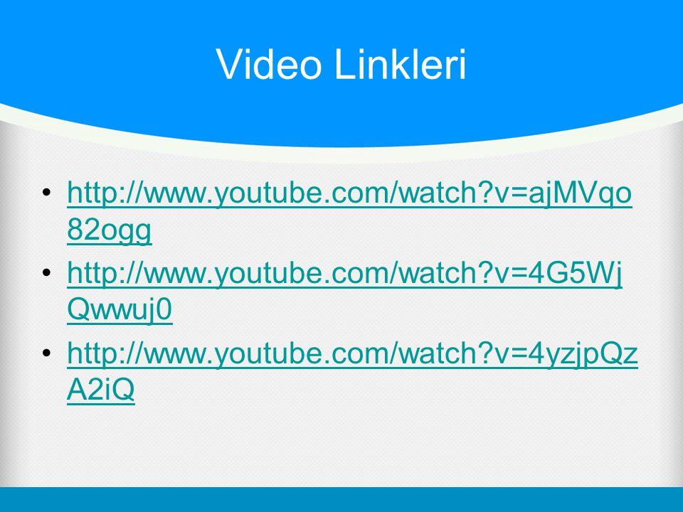 Video Linkleri •http://www.youtube.com/watch?v=ajMVqo 82ogghttp://www.youtube.com/watch?v=ajMVqo 82ogg •http://www.youtube.com/watch?v=4G5Wj Qwwuj0htt