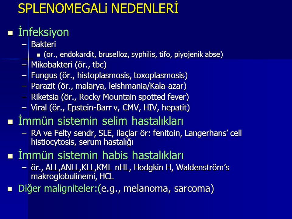 SPLENOMEGALi NEDENLERİ  İnfeksiyon –Bakteri  (ör., endokardit, bruselloz, syphilis, tifo, piyojenik abse) –Mikobakteri (ör., tbc) –Fungus (ör., hist