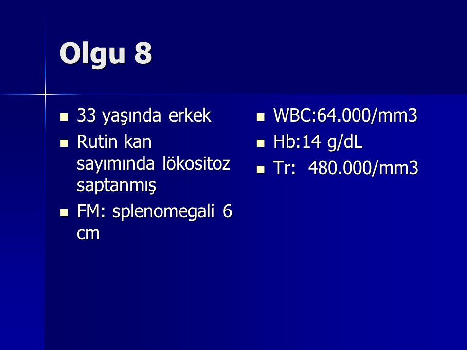 Olgu 8  33 yaşında erkek  Rutin kan sayımında lökositoz saptanmış  FM: splenomegali 6 cm  WBC:64.000/mm3  Hb:14 g/dL  Tr: 480.000/mm3