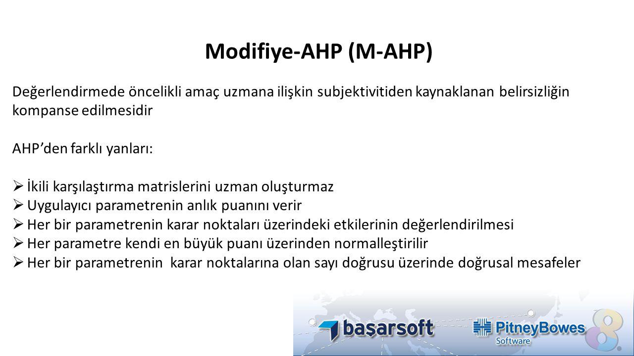 Modifiye-AHP (M-AHP) Değerlendirmede öncelikli amaç uzmana ilişkin subjektivitiden kaynaklanan belirsizliğin kompanse edilmesidir AHP'den farklı yanla