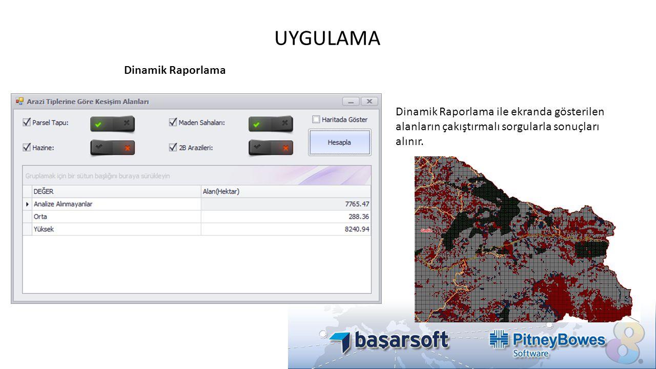 UYGULAMA Dinamik Raporlama Dinamik Raporlama ile ekranda gösterilen alanların çakıştırmalı sorgularla sonuçları alınır.