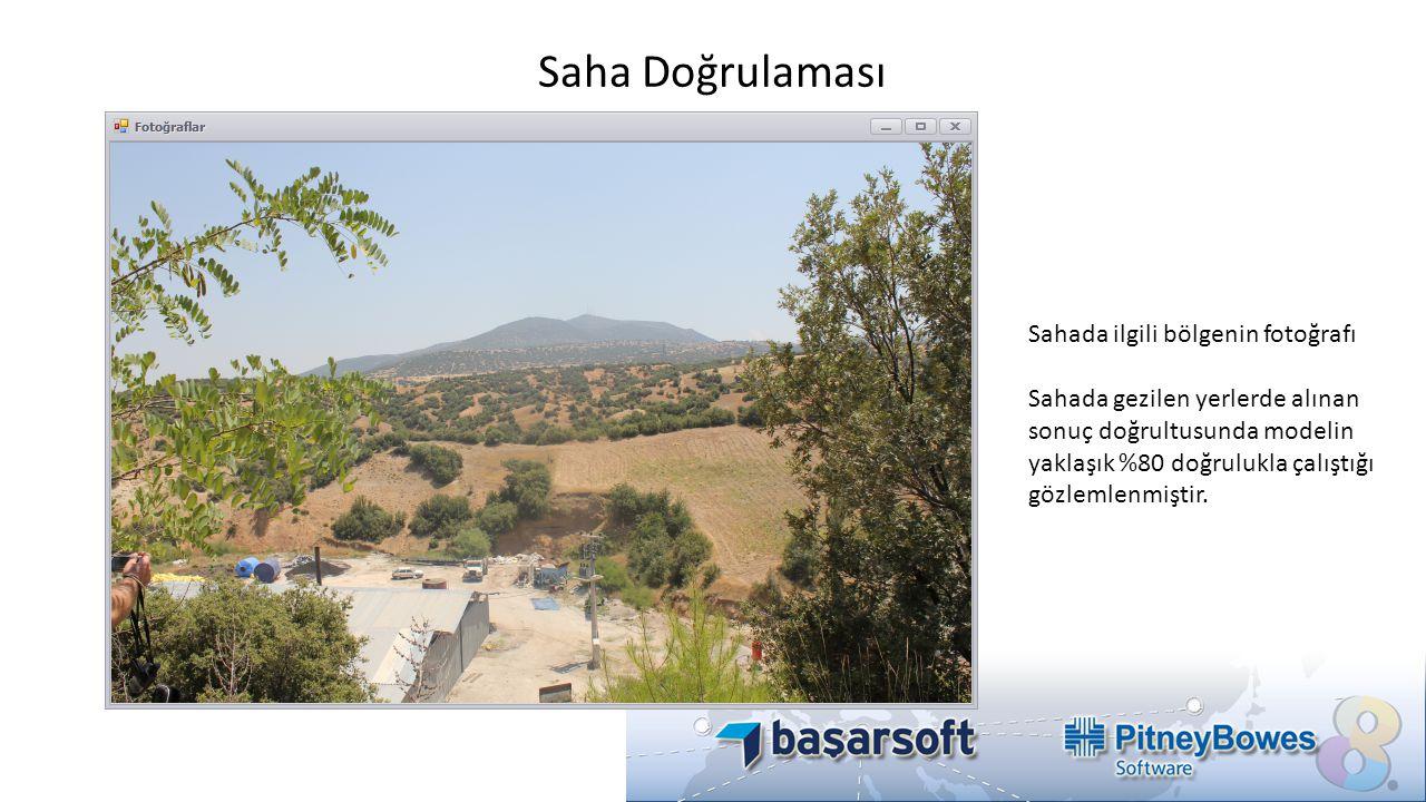 Saha Doğrulaması Sahada ilgili bölgenin fotoğrafı Sahada gezilen yerlerde alınan sonuç doğrultusunda modelin yaklaşık %80 doğrulukla çalıştığı gözleml