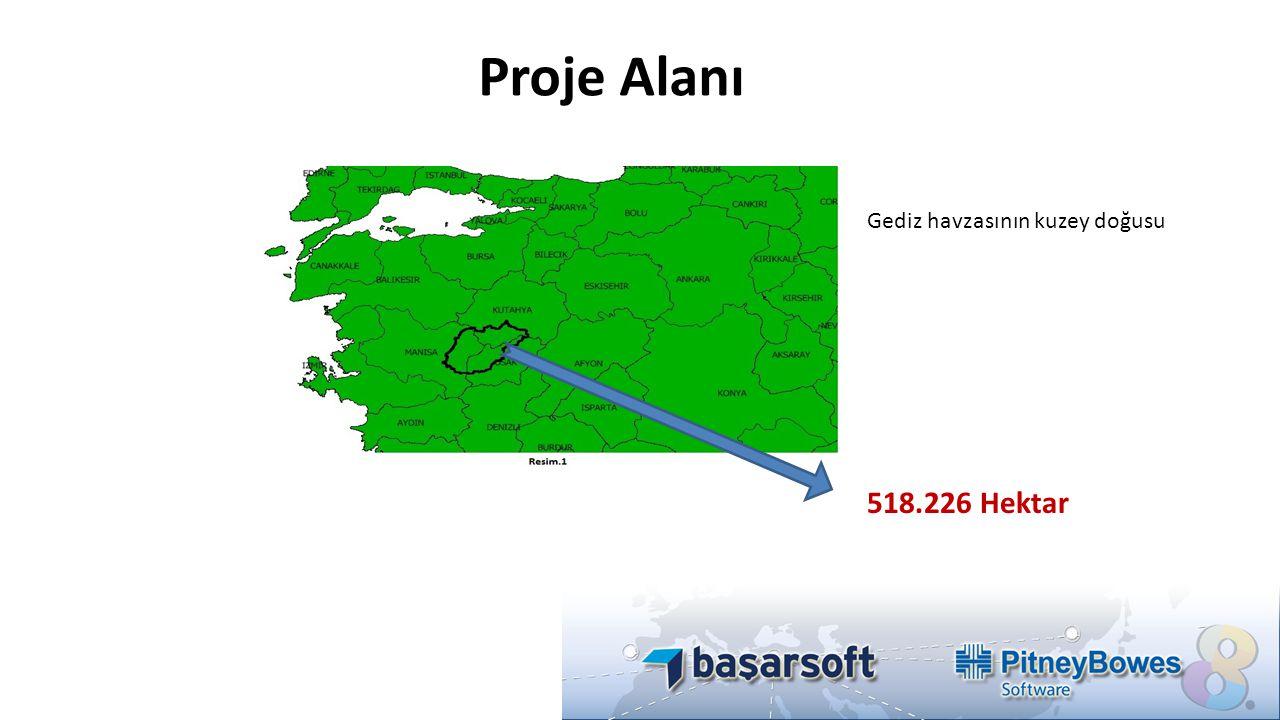 Proje Alanı 518.226 Hektar Gediz havzasının kuzey doğusu
