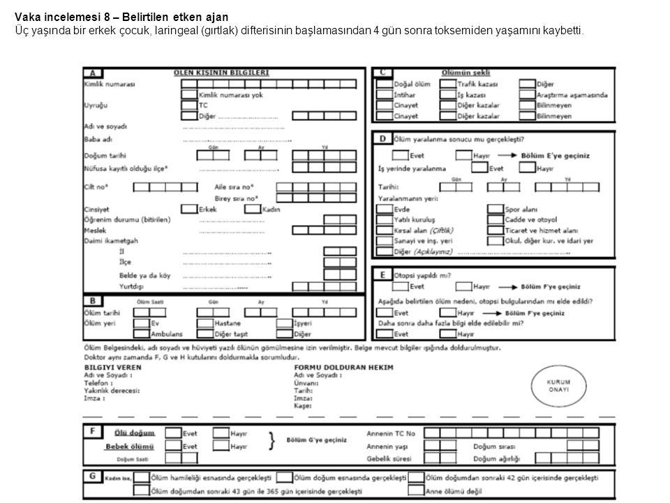 Vaka incelemesi 8 – Belirtilen etken ajan Üç yaşında bir erkek çocuk, laringeal (gırtlak) difterisinin başlamasından 4 gün sonra toksemiden yaşamını k