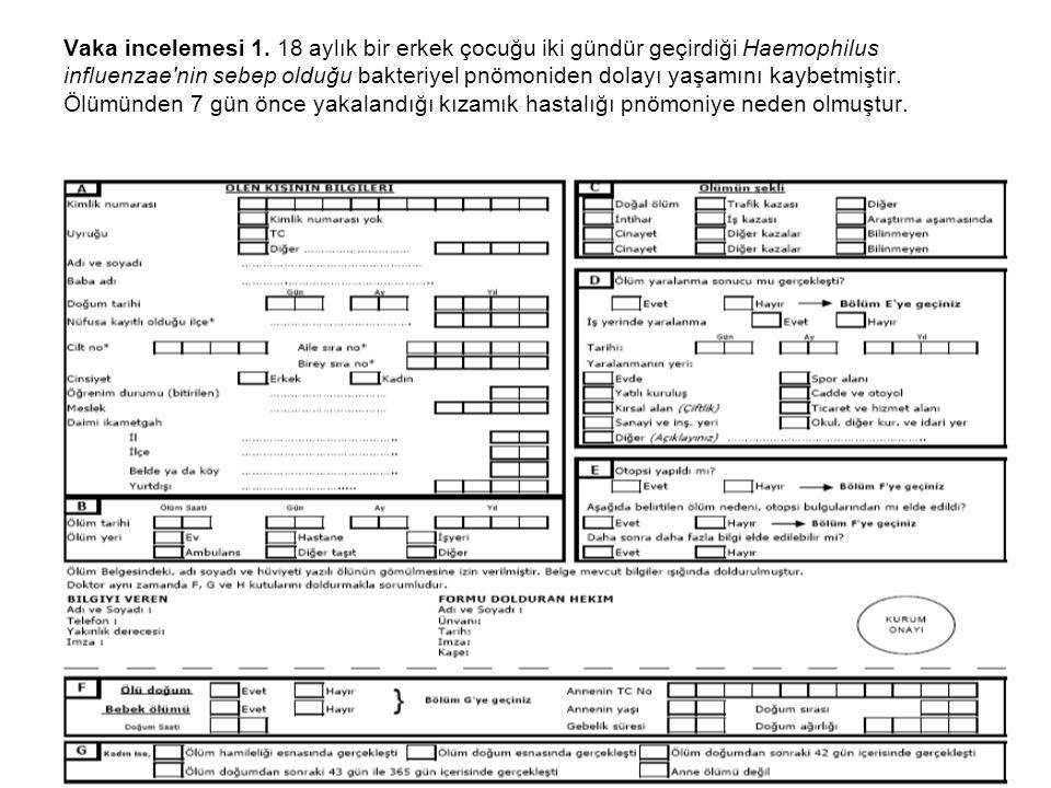Vaka incelemesi 1. 18 aylık bir erkek çocuğu iki gündür geçirdiği Haemophilus influenzae'nin sebep olduğu bakteriyel pnömoniden dolayı yaşamını kaybet