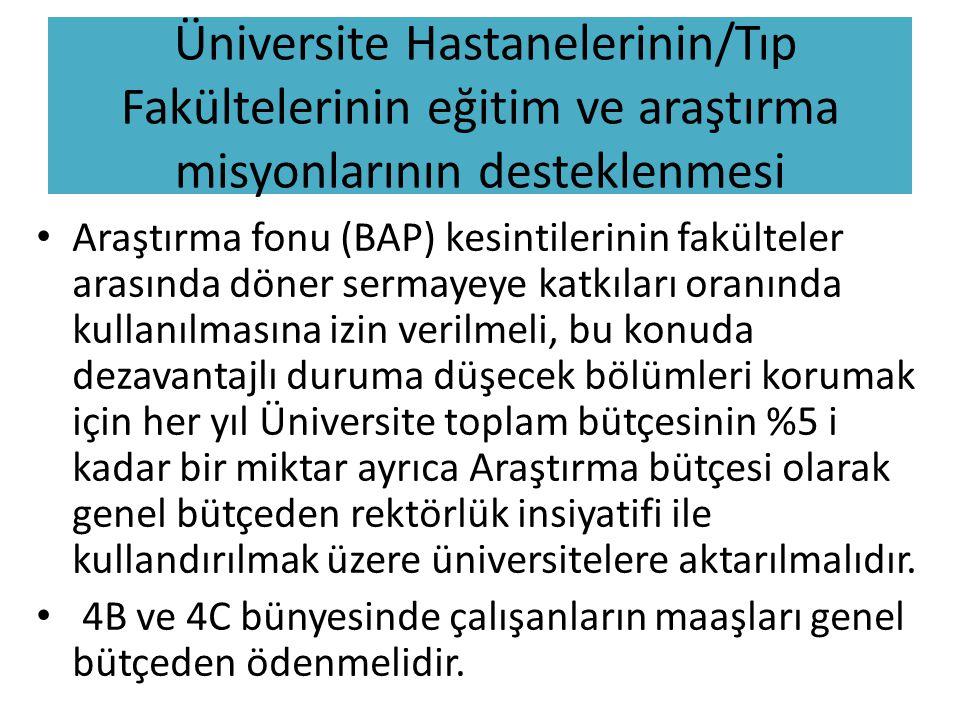 Üniversite Hastanelerinin/Tıp Fakültelerinin eğitim ve araştırma misyonlarının desteklenmesi • Araştırma fonu (BAP) kesintilerinin fakülteler arasında