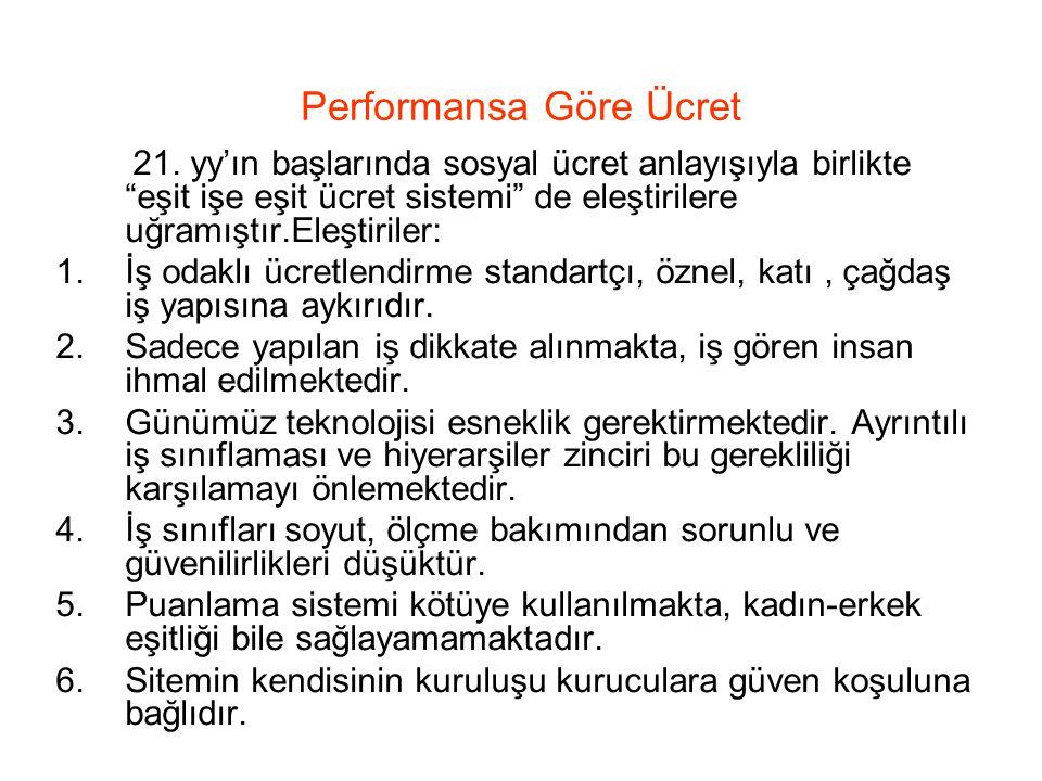 Performansa Göre Ücret 21.