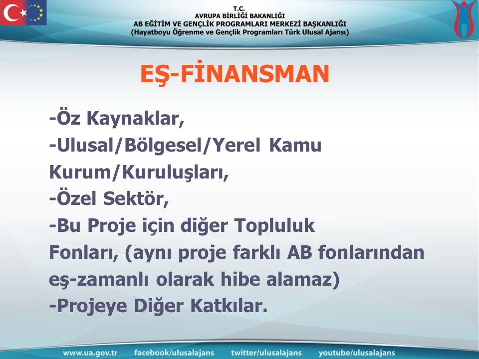 EŞ-FİNANSMAN -Öz Kaynaklar, -Ulusal/Bölgesel/Yerel Kamu Kurum/Kuruluşları, -Özel Sektör, -Bu Proje için diğer Topluluk Fonları, (aynı proje farklı AB